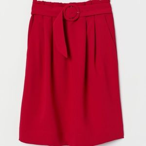 Red skirt with attached belt - paper bag style